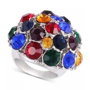 Silver-Tone Multicolor Crystal Statement Ring